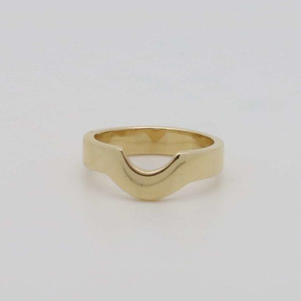 Yellow gold bespoke shaped wedding ring