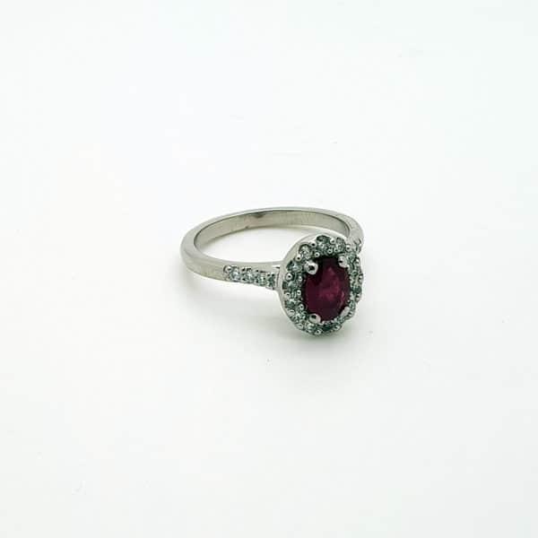 Ladies Ruby & Diamond Halo Ring on White bg